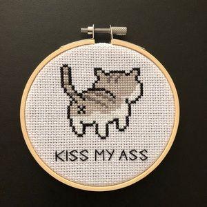 """Handmade """"Kiss My Ass"""" Cat Cross Stitch"""